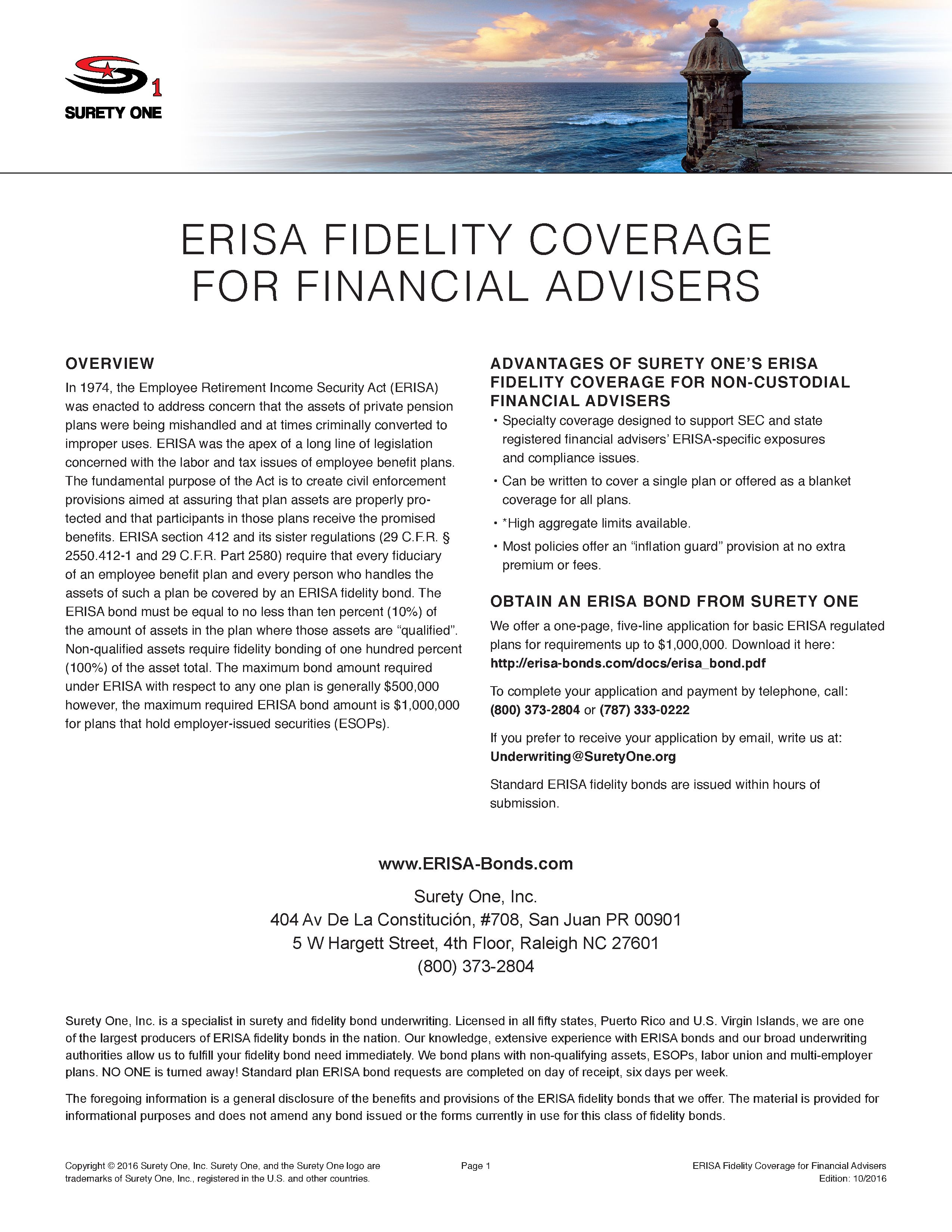 New Erisa Compliant Coverage Is Now Available For Independent