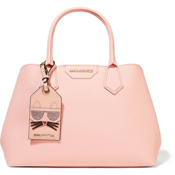 Karl Lagerfeld Lady Shopper textured-leather tote (1.140 BRL) ❤ liked on Polyvore featuring bags, handbags, tote bags, pastel pink, cat handbag, cat purse, expandable tote, handbags totes and structured tote bag