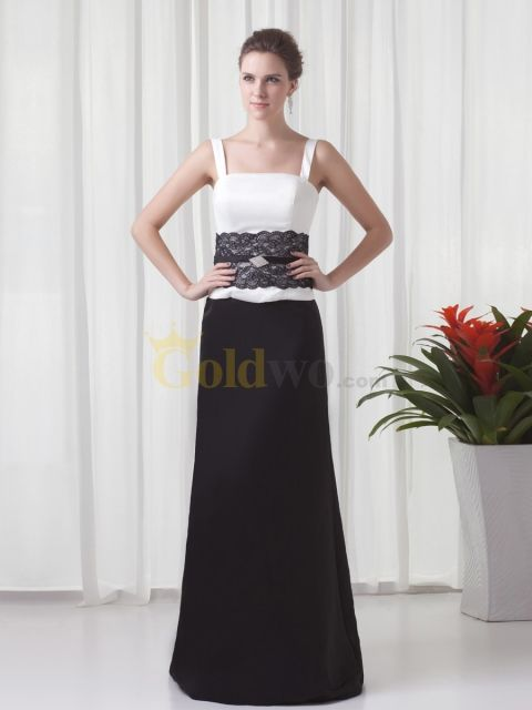 [US$176.69] Two Toned Satin Floor Length Evening Dress with Brooch and Lace Sash