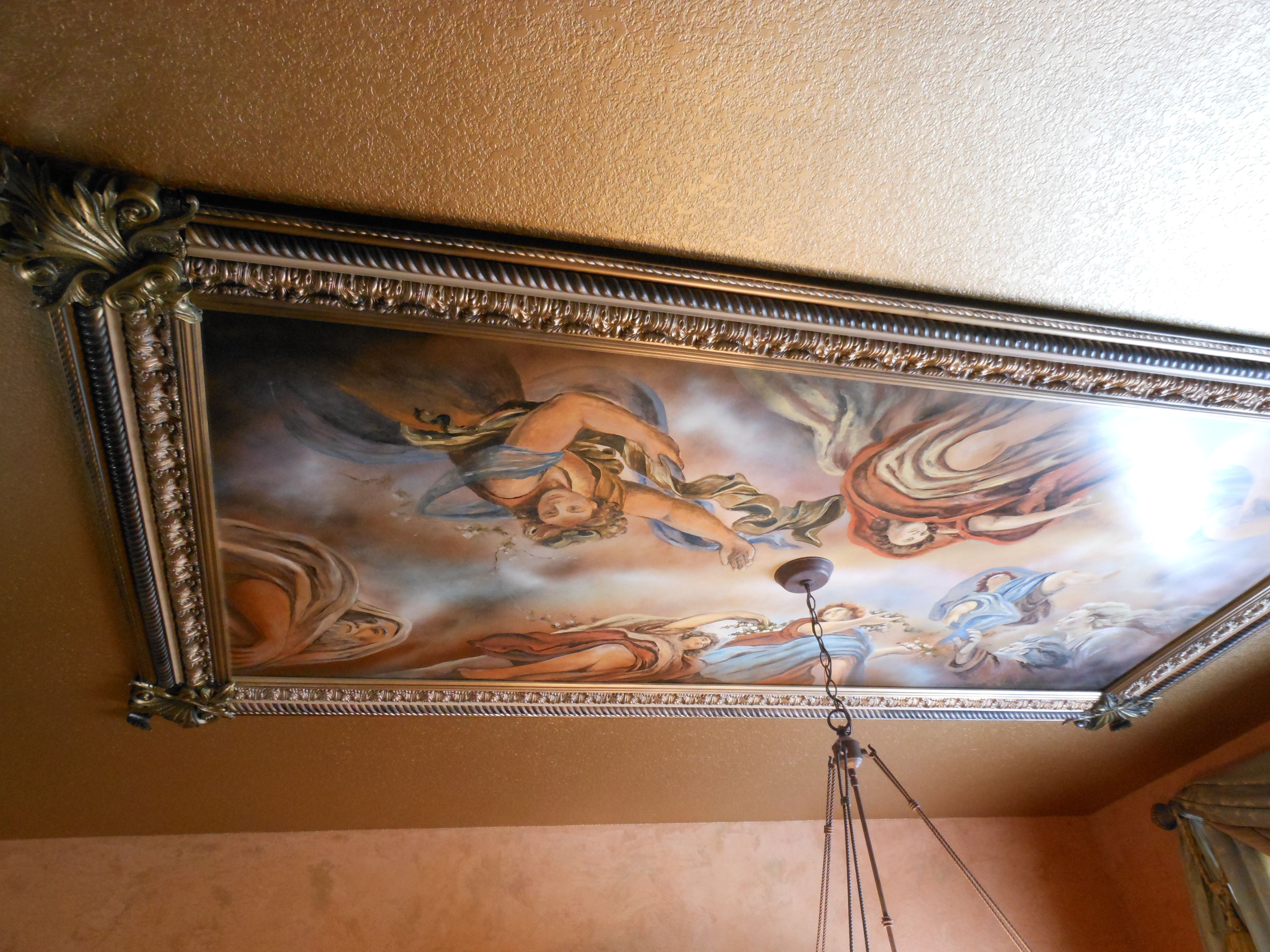 Michaelangelo Style Commissioned Painting On The Ceiling The Dining Room