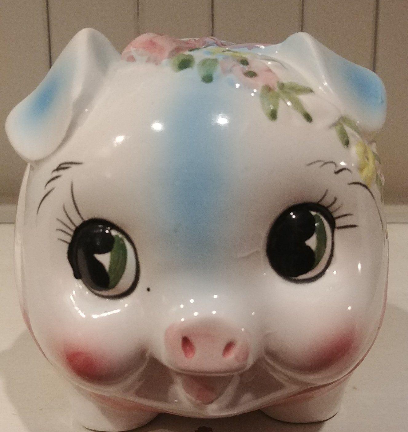 Ceramic Pig Piggy Bank White Open Eyes