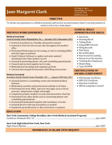 Medical Assistant Resume  With Experience  Work