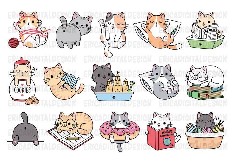 Funny Cats Clipart Cute Cat Clip Art Kawaii Kitten Kitty Icons Etsy In 2021 Cat Clipart Clip Art Kitten Drawing