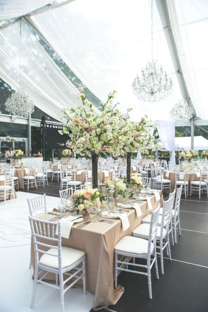 Cherry Blossom Centrepieces for a Tented Wedding With Chandeliers ...