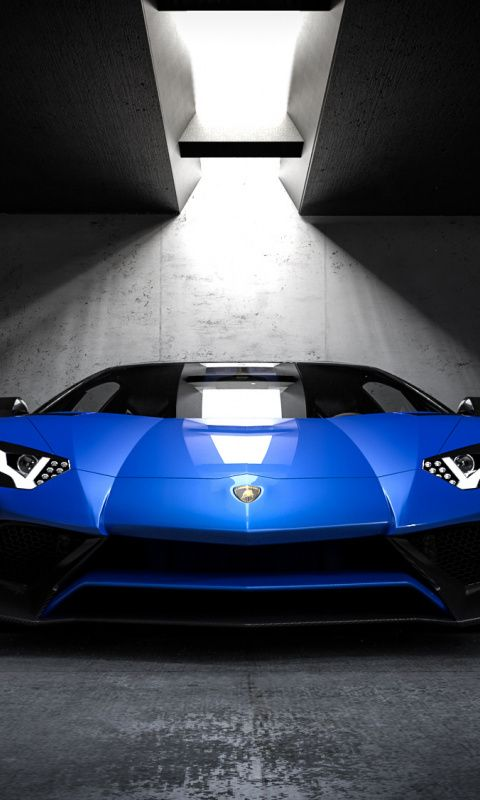 480x800 Blue Lamborghini Sports Car Front Wallpaper Blue Lamborghini Sports Car Lamborghini