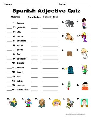 Spanish Adjective Quiz From Spanish The Easy Way On