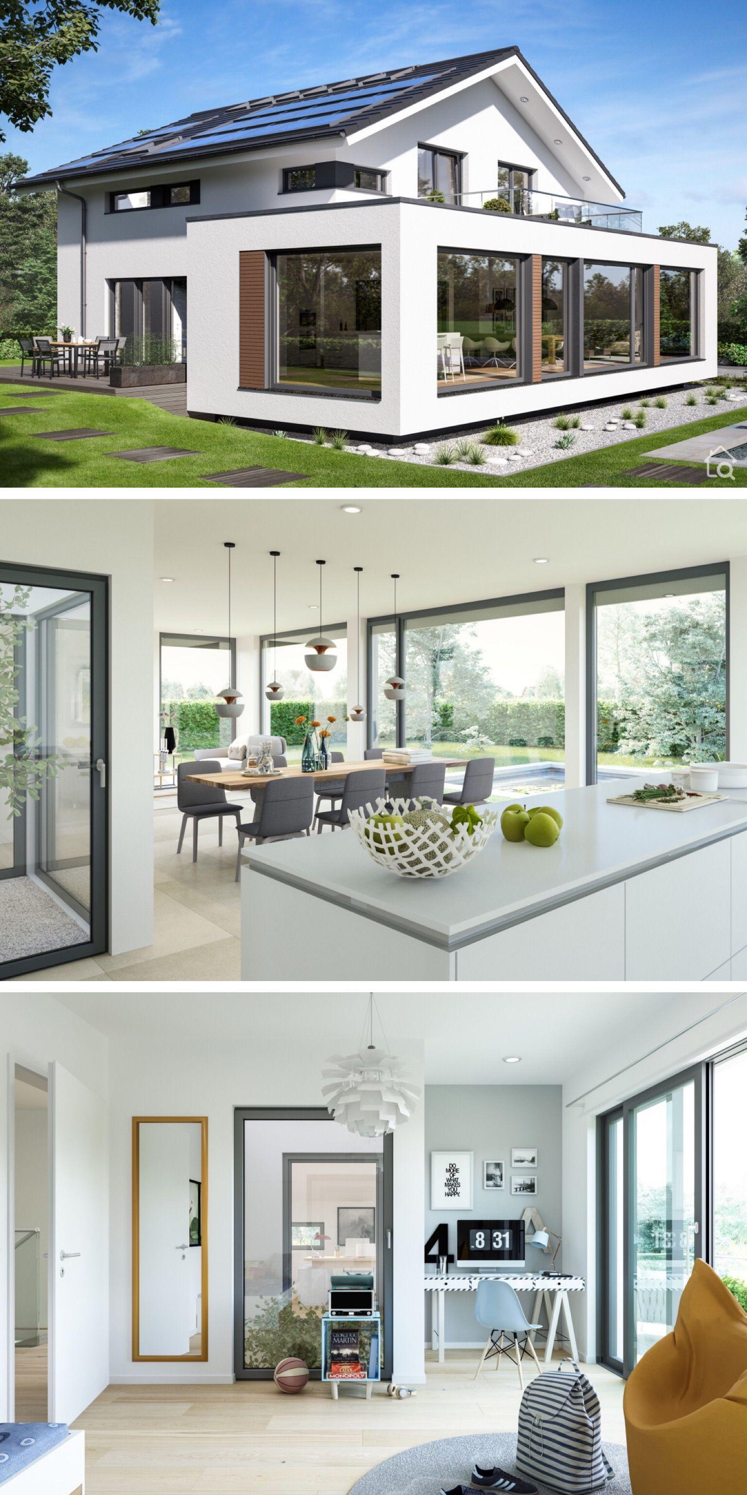 Modernes Design Haus mit Satteldach & Innenhof, Grundriss