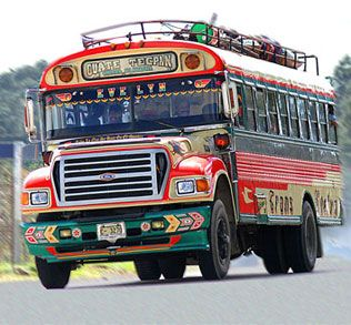 """Known as """"chicken buses,"""" these old, retired American school buses arrive in ...  blog.brillianttrips.com"""