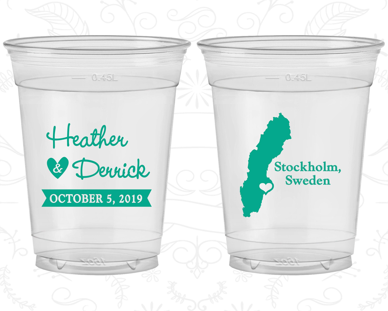 Sweden Wedding Personalized Clear Cups Destination Plastic Stockholm