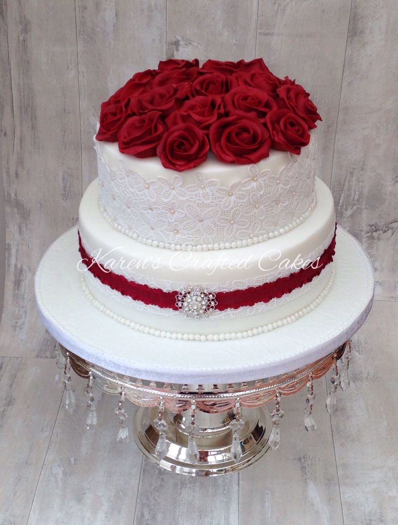 Ruby wedding anniversary cake, red roses and lace | Anniversary ...