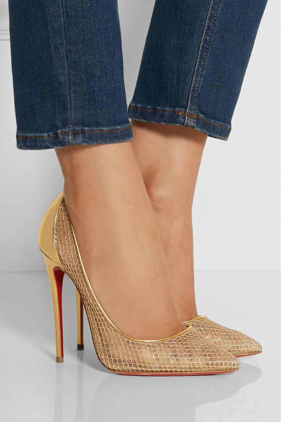 Christian Louboutin - Follies Resille 120 metallic leather and embroidered  mesh pumps