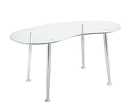 Tiempos modernos mesa de escritorio con sobre curvo en metal cromado y vidrio transparente y - Tiempos modernos muebles ...