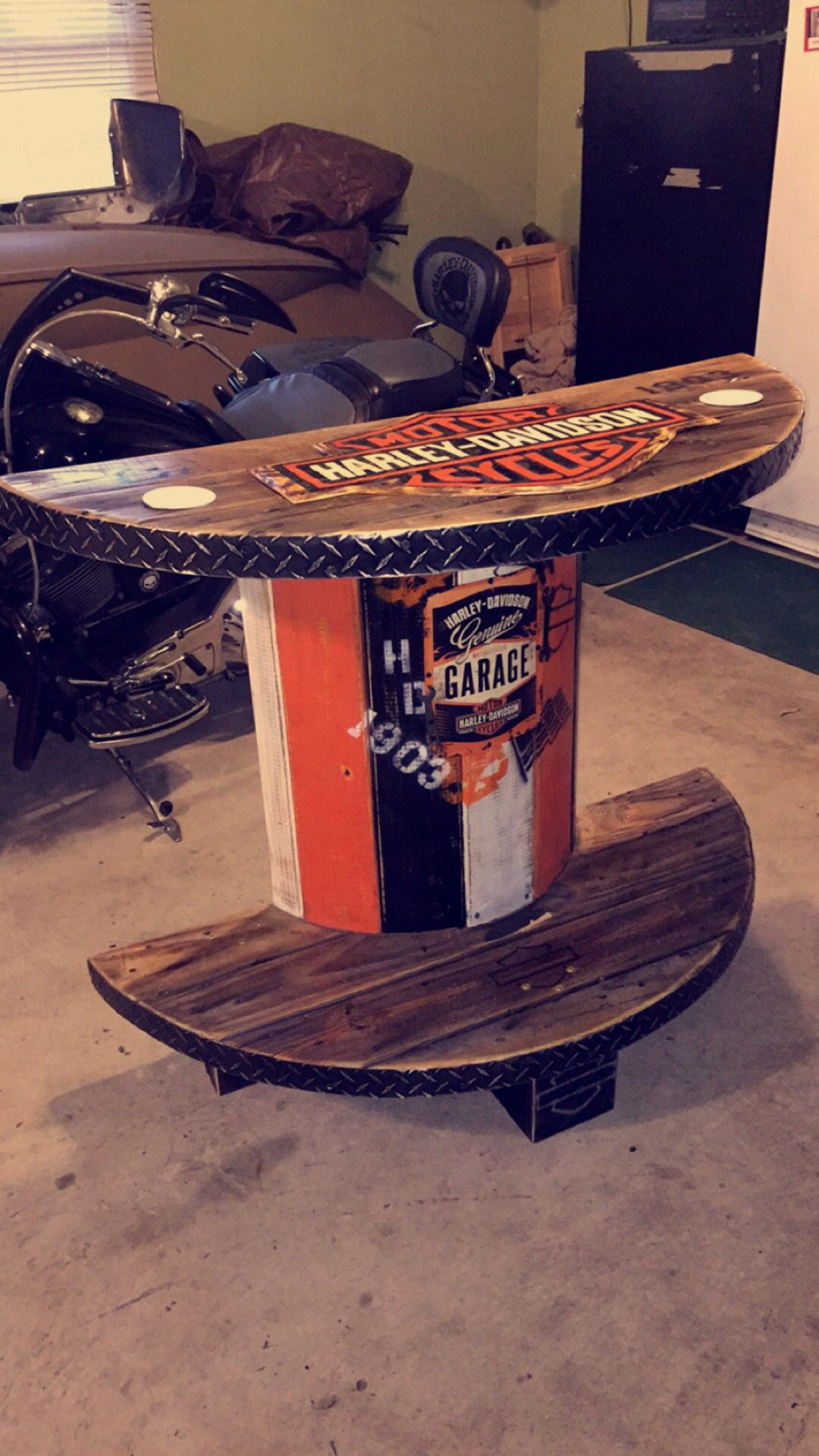 Harley Davidson 1 2 Spool Table Rollie' Bar Outdoor