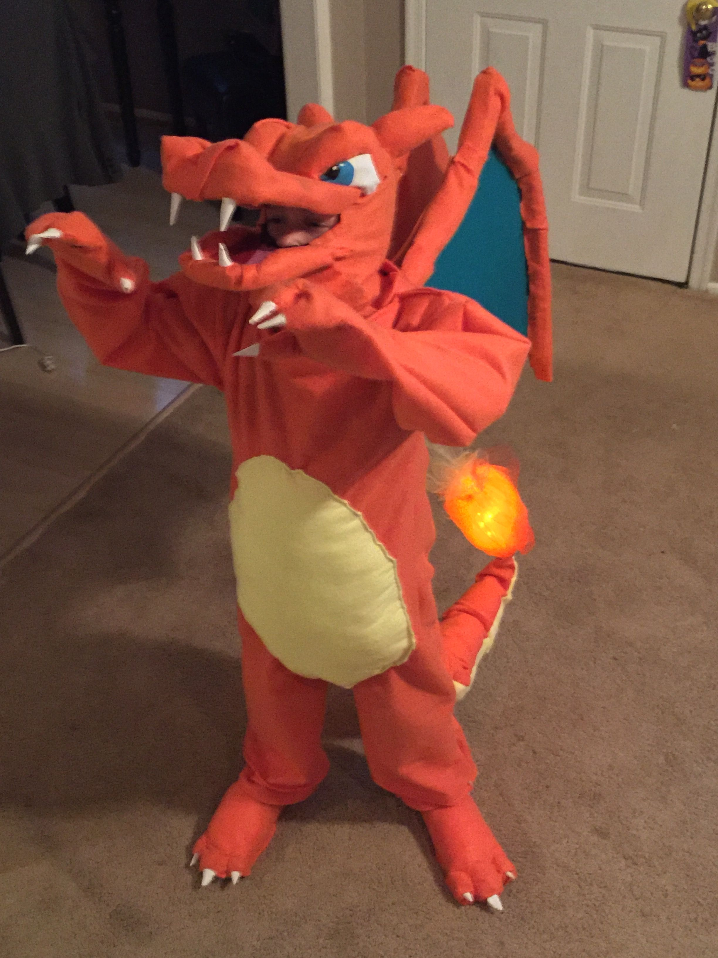 096d31abd2 Charmander Halloween costume. The flame on the tail actually lights up!!  Disfraces