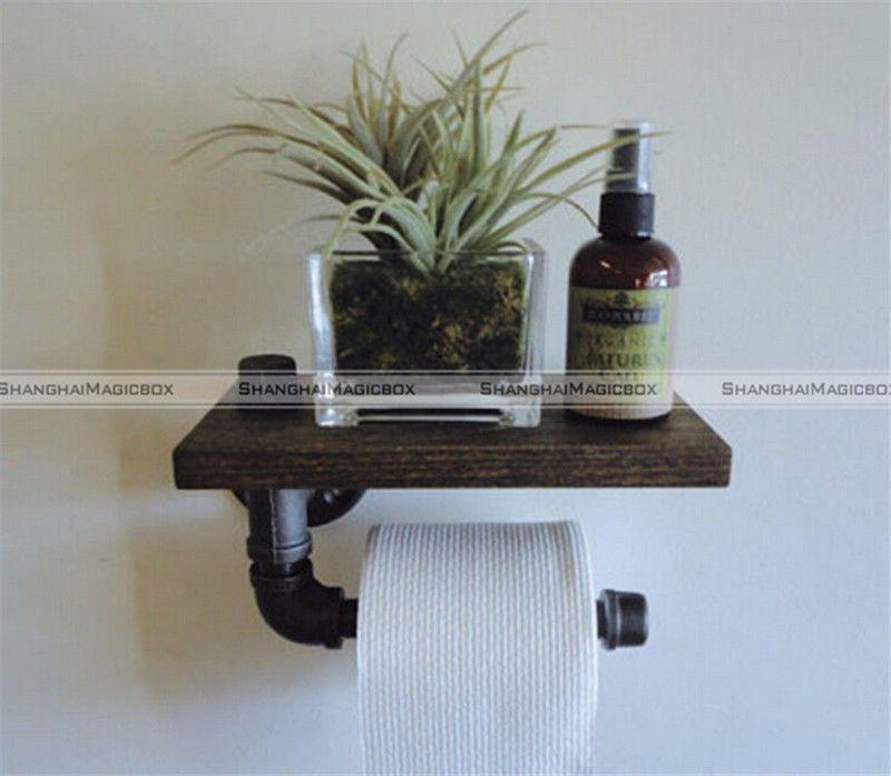 vintage style industriel pipe m tal bois tag re porte papier toilette rouleau smb 40215378 dans. Black Bedroom Furniture Sets. Home Design Ideas