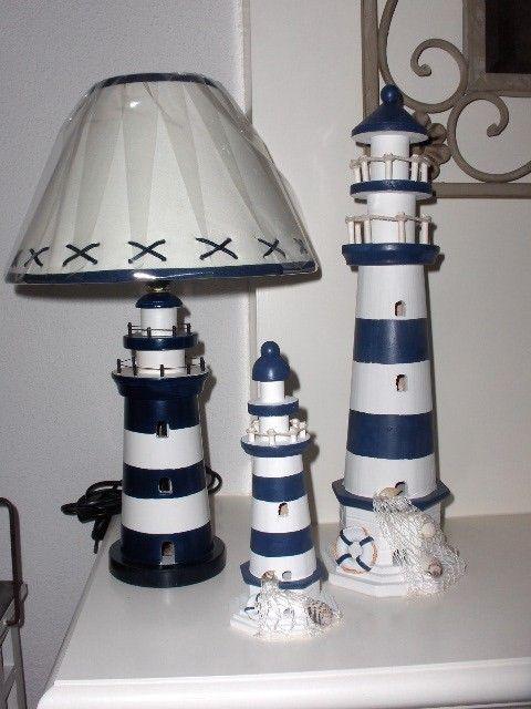 Maritiem lamp Vuurtoren blauw 40 cm .