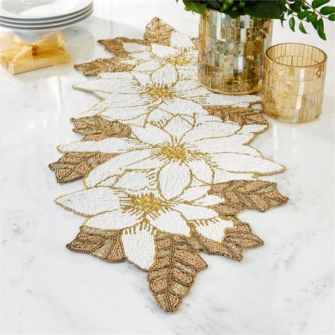 Pretty Poinsettia Holiday Table Runner Google Search Poinsettia Table Runner Holiday Table Runner Holiday Table Linens