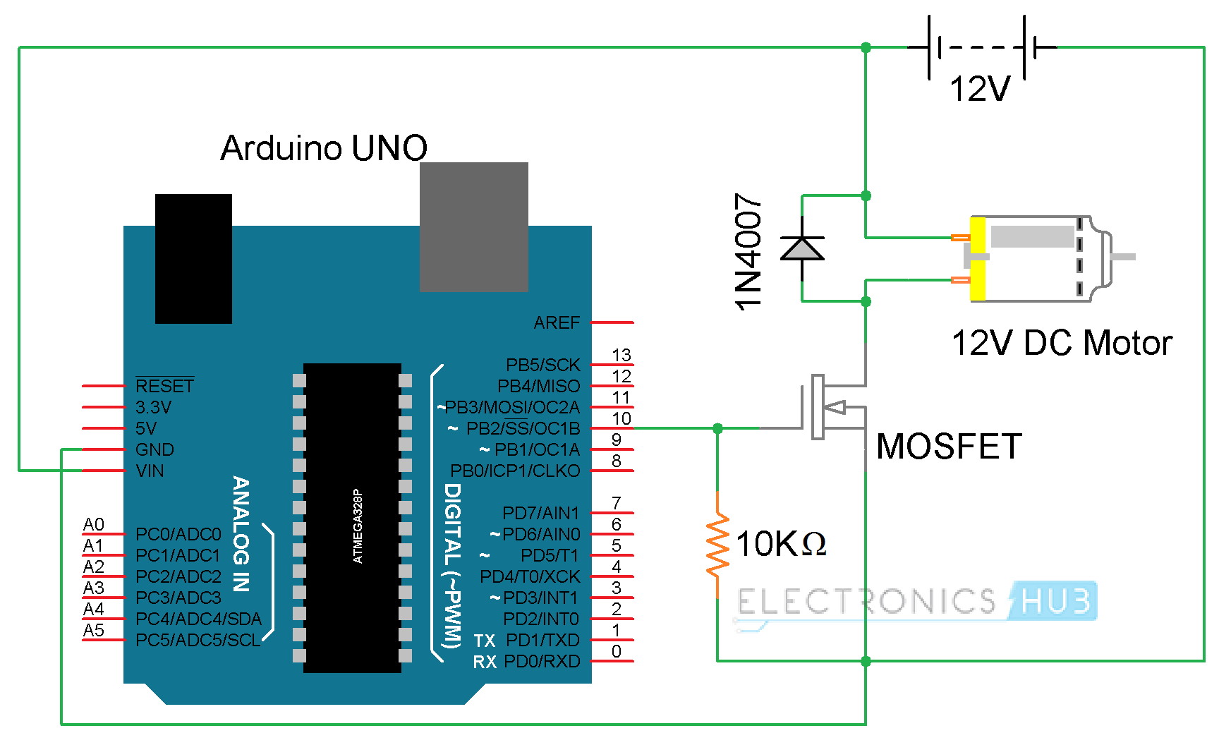 Arduino DC Motor Control using L298N MOSFET Electronics Mini Projects, Circuit  Diagram, Circuit Board