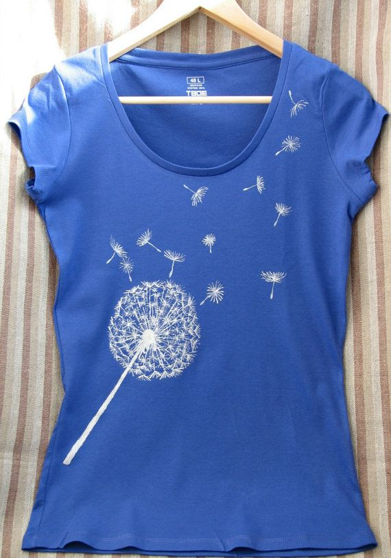 Hand-painted T-shirt/blue t-shirt/female T-shirt/graphic tees for  women/women tee/Handpainted tee/dandelion/silver flower/asymmetric pattern