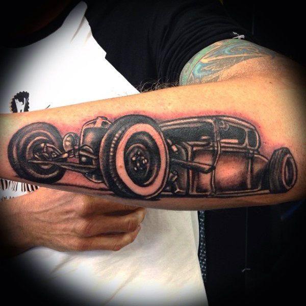 Best hot rod tattoo mens forearm design ideas ink for Hot rod tattoos