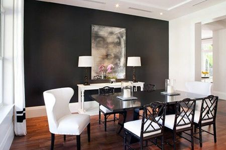 Dark gray accent wall in dining room benjamin moore for Best white paint for grow room
