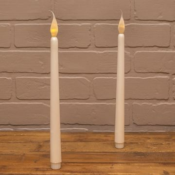 Taper Candle, Warm White LED, Silicone Bulb, 11 in., Pearl, 2 pack