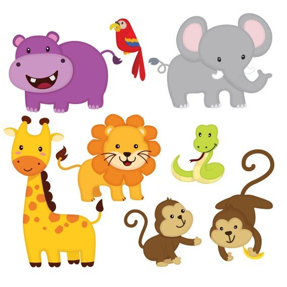 Jungle Animal Clip Art Jungle Friends Sticker Jungle Animal Cartoon Cute Animal Clipart Instant Cute Animal Clipart Jungle Animals Animal Clipart