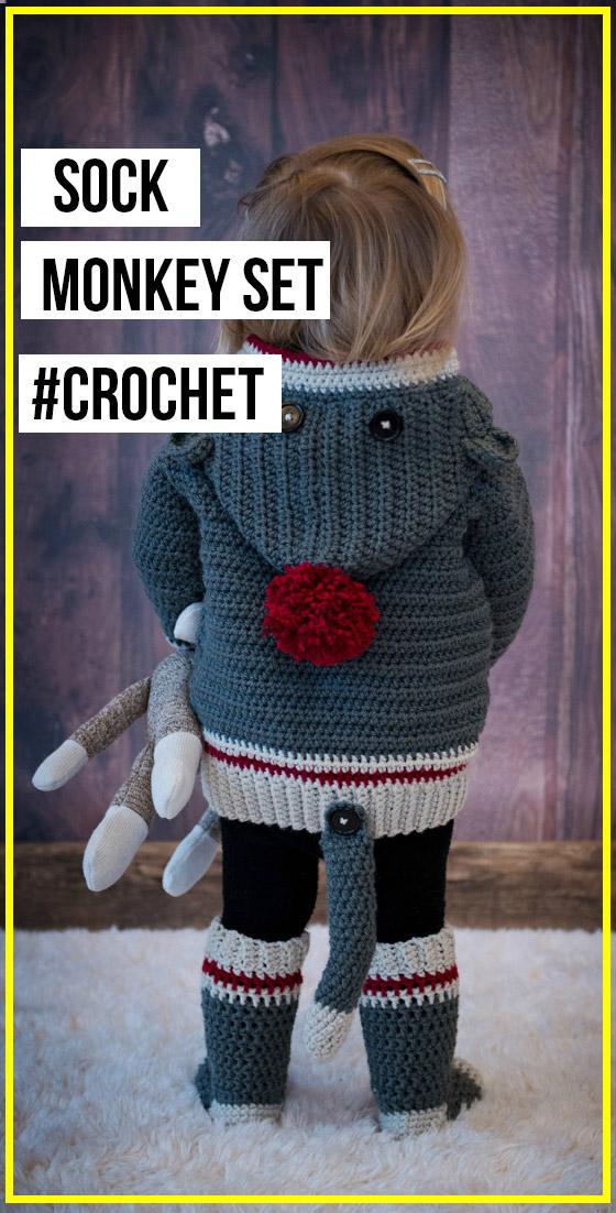 crochet Child & Adult Sock Monkey Set easy pattern