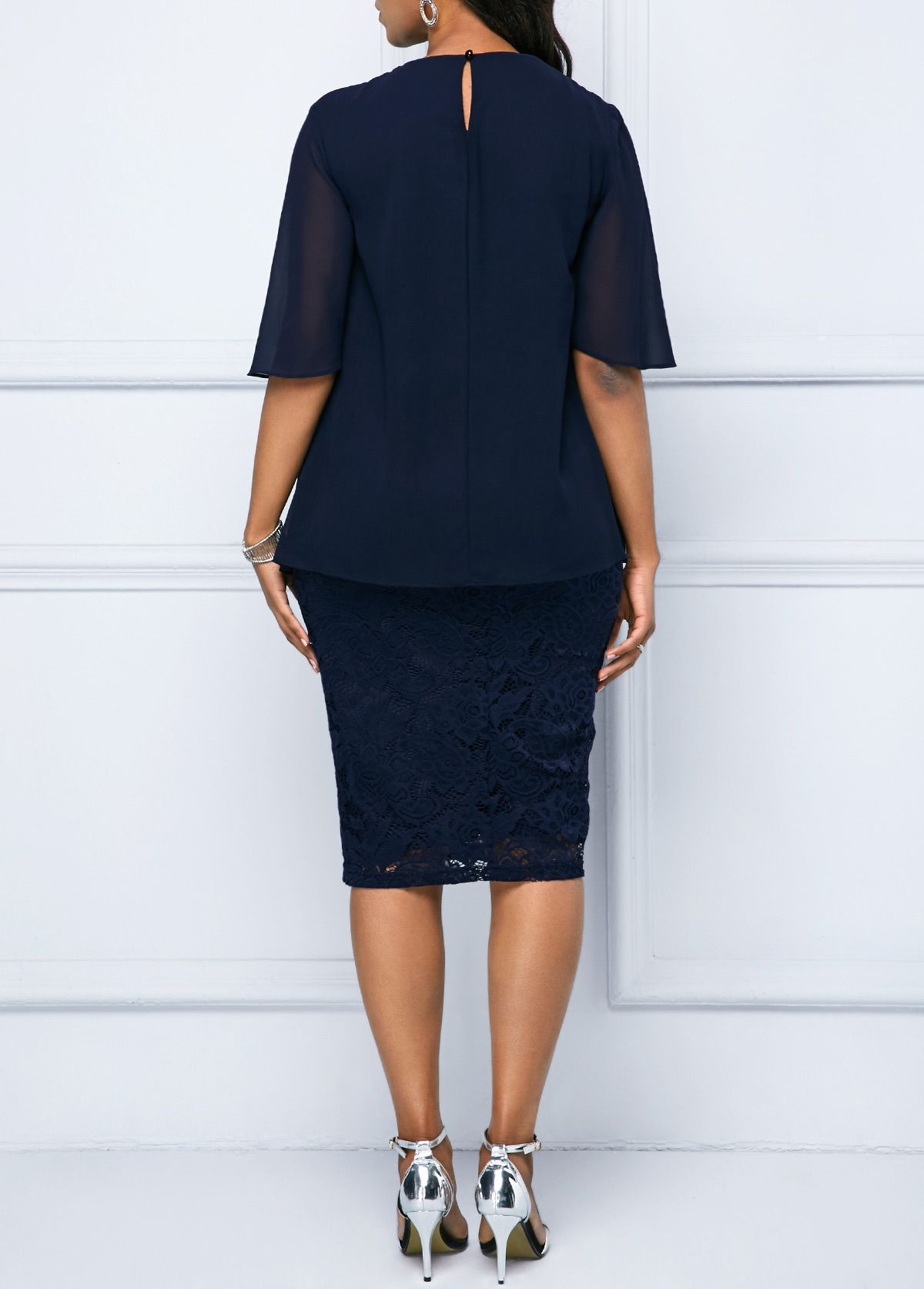 4234fc973f837 Chiffon Overlay Navy Blue Half Sleeve Lace Dress