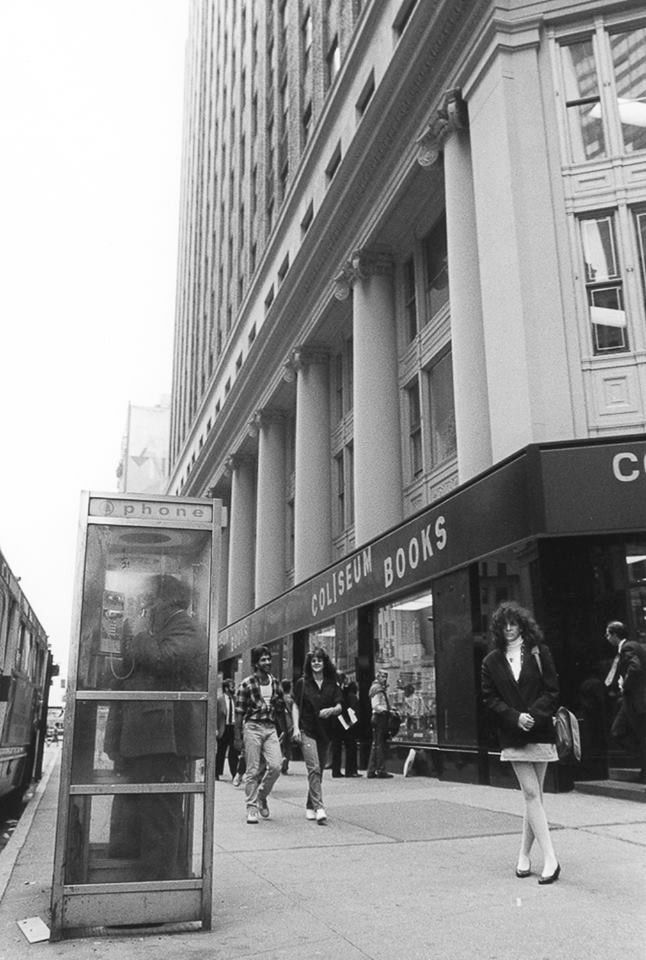 Coliseum Books, NYC, 1987. Once upon a time, the omnipresent AT&T phone boxes.