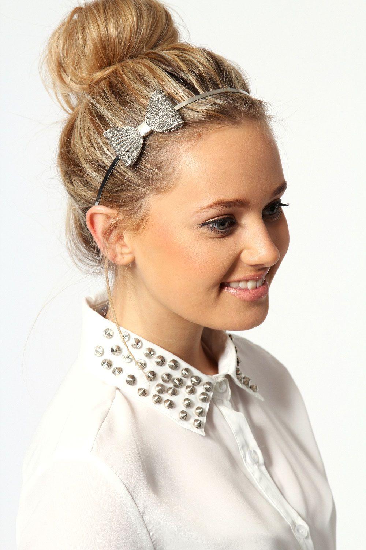 Imogen Metal Structured Bow Headband Headband Hairstyles Bow Headband Hairstyles Short Hair Accessories