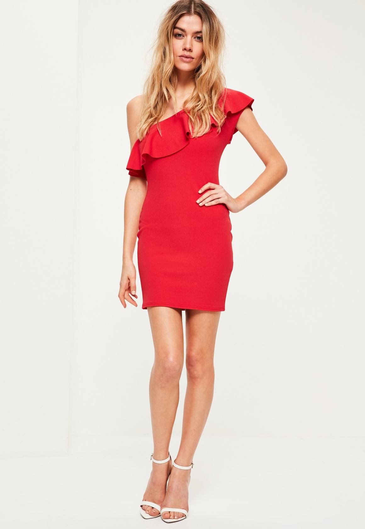 aaccfcb550e5 Missguided - Petite Exclusive Red Off Shoulder Frill Dress | Dress ...