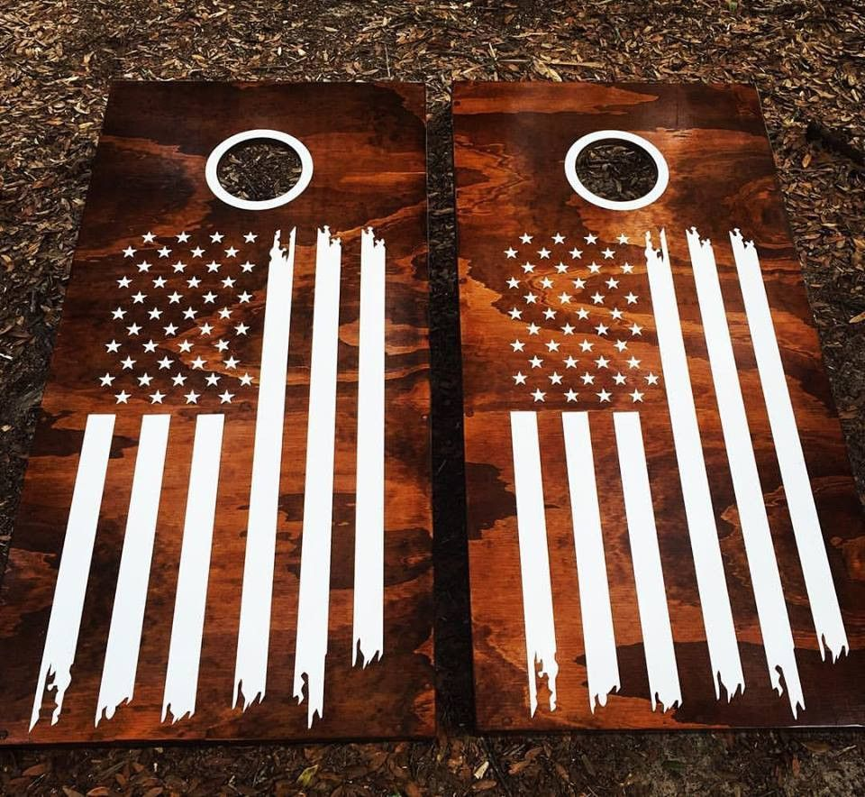 American Usa Flag Cornhole Set With Bean Bags