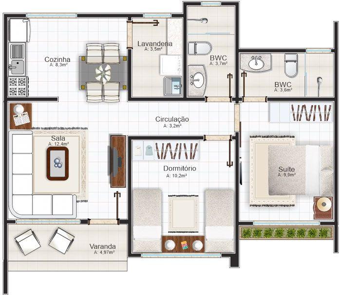 planos de casas modernas de 1 piso y 2 habitaciones