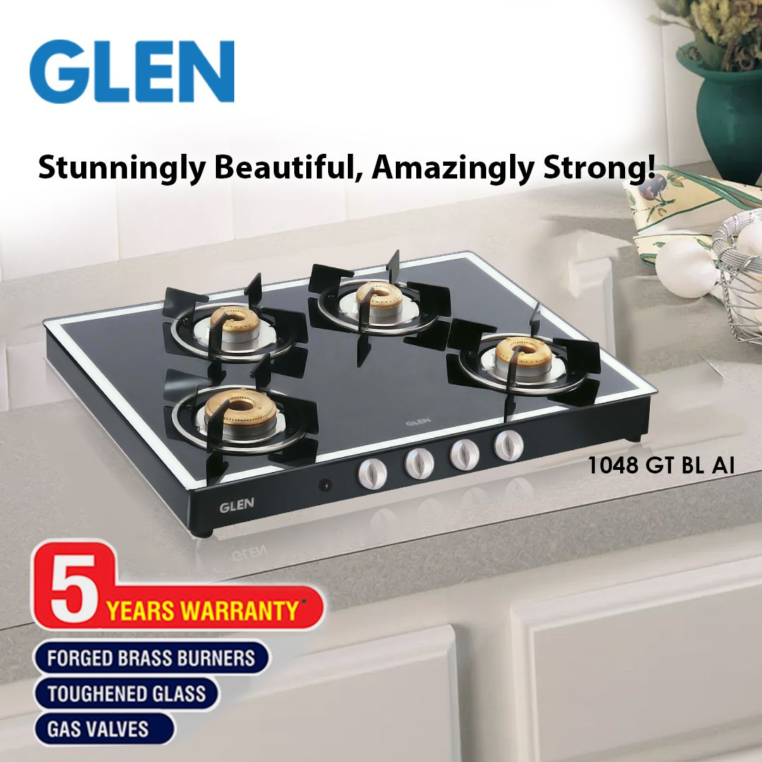 Glen 4 Burner Gas Stove 1048 Gt Black Forged Burners Mirror Finish