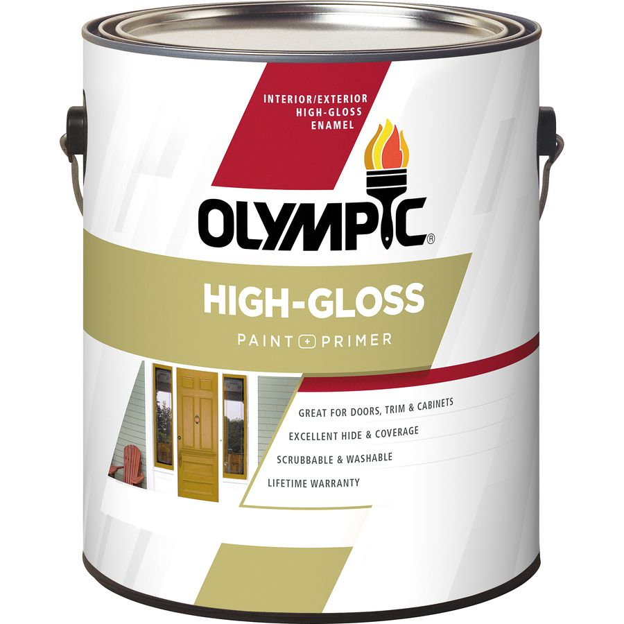 Olympic Ultra White Base 1 High Gloss Acrylic Enamel Interior Exterior Paint And Primer In One Actual Net Contents 124 Fl Oz
