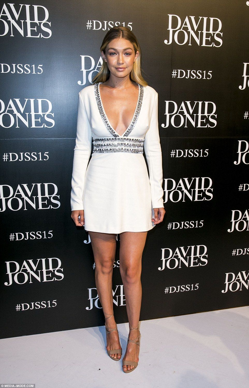 White dress david jones - Gigi Hadid Shows Off Some Extreme Cleavage In Plunging Mini Dress White Mini Dressdavid Jonescover