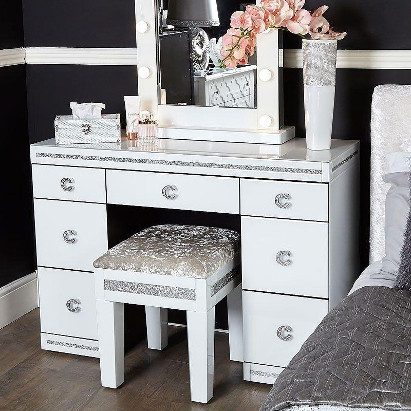 Best Crystalline White Glass Mirrored 7 Drawer Bedroom Dressing 400 x 300