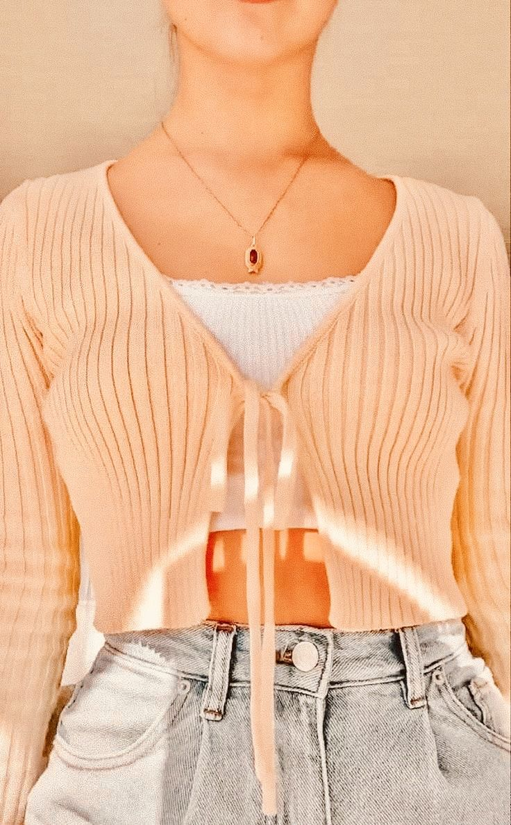 Kendall & Kylie Tie Front Sweater Cami Top