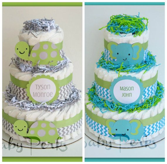 Turtle baby shower turtle diaper cake baby shower decorations chevron diaper cake green - Baby shower chevron decorations ...