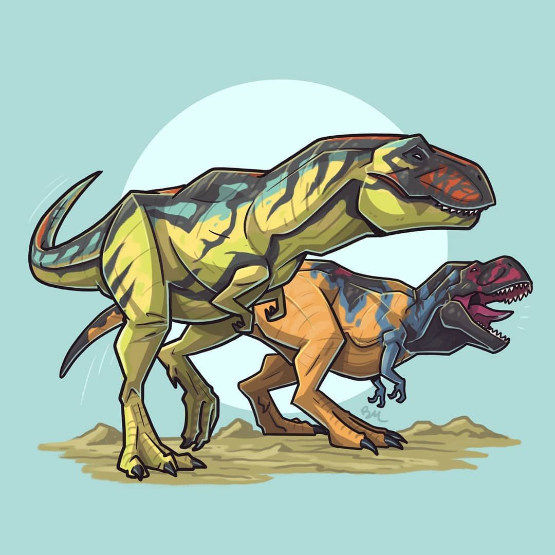 Hip hip huzzah! It all happened so fast...but we made it through another month of daily dino illustrations! That makes 105 in total! Holy shit. For #Dinovember Day 30 we have two Tyrannosaurus Rex from the Chaos Effect toyline circa 1998. Up front we have the radiantly hued Thrasher T-Rex and in back we have the king of all dinos, Omega T-Rex! . #jurassicpark #jurassicworld #fallenkingdom #lostworld #paleoart #jurassic #art #retro #matteljurassicworld #mattel #hasbro #kenner #dino #toy #acti #tyrannosaurusrex