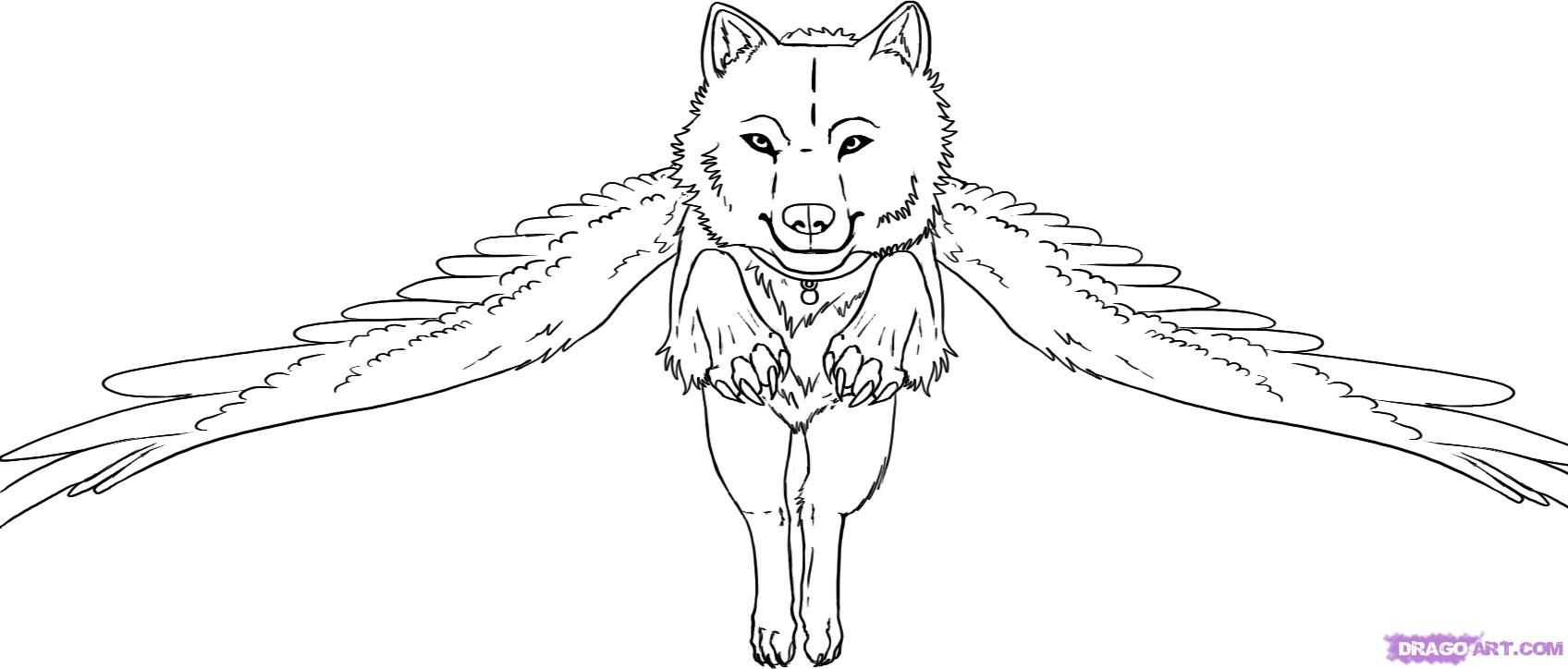 Mystical/Fantasy Leaping Wolf Drawing with Wings Outline