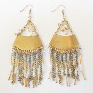 Boucles d'oreilles ethniques perles - http://milena-moda.com/