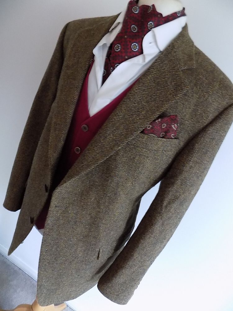 HARRIS TWEED mens CARL GROSS BROWN HERRINGBONE SPORTS JACKET