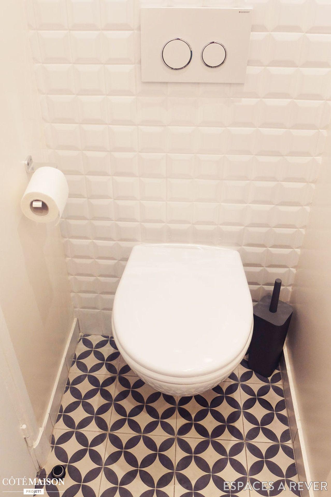 Carrelage métro et sol graphique pour des WC au top   Toilette & WC ...
