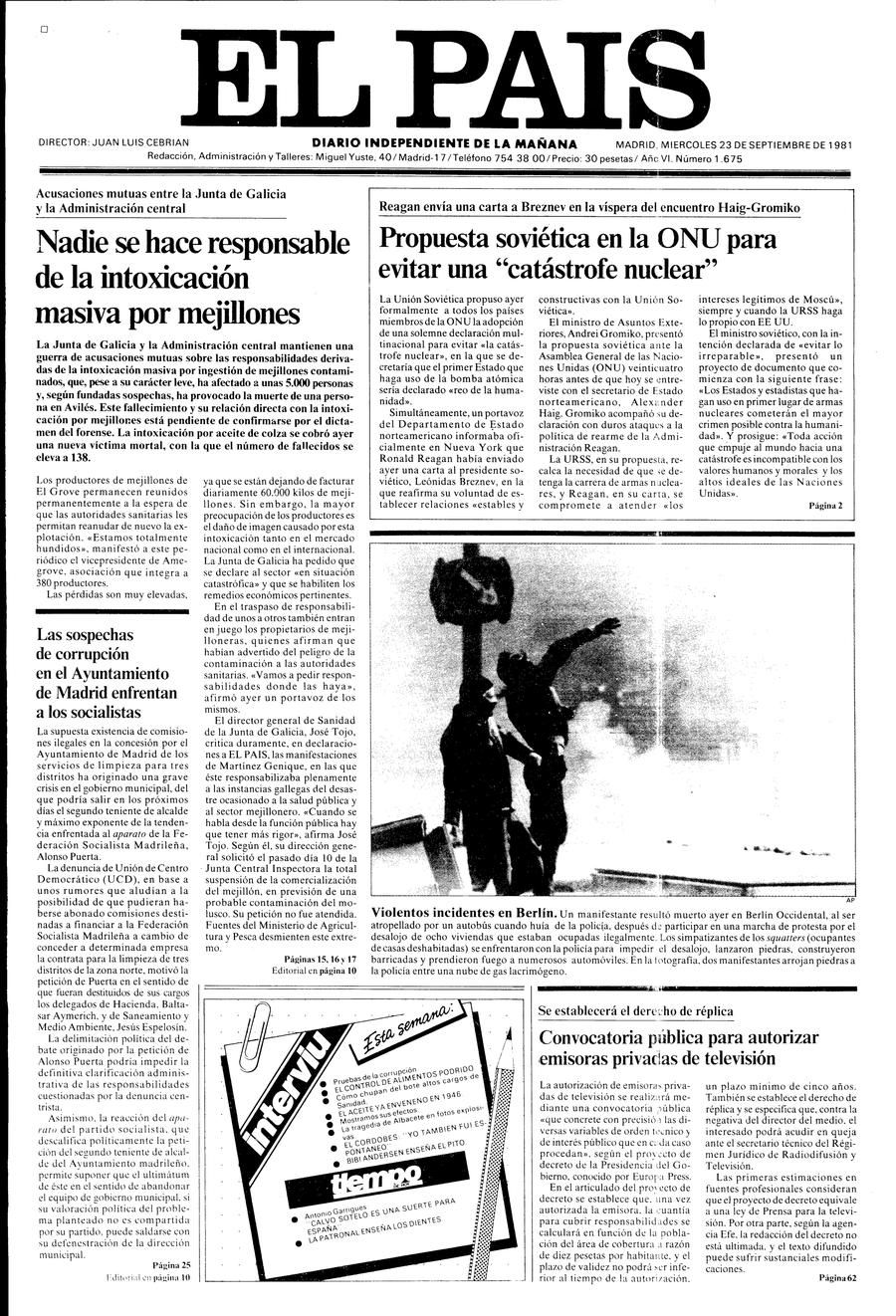 23 de Septiembre | PORTADAS EL PAIS | Pinterest | 23 de septiembre ...