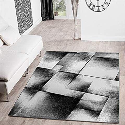 Designer Teppich Wohnzimmer Modern Kurzflorteppich Meliert Grau Schwarz  Creme , Größe:240x320 Cm