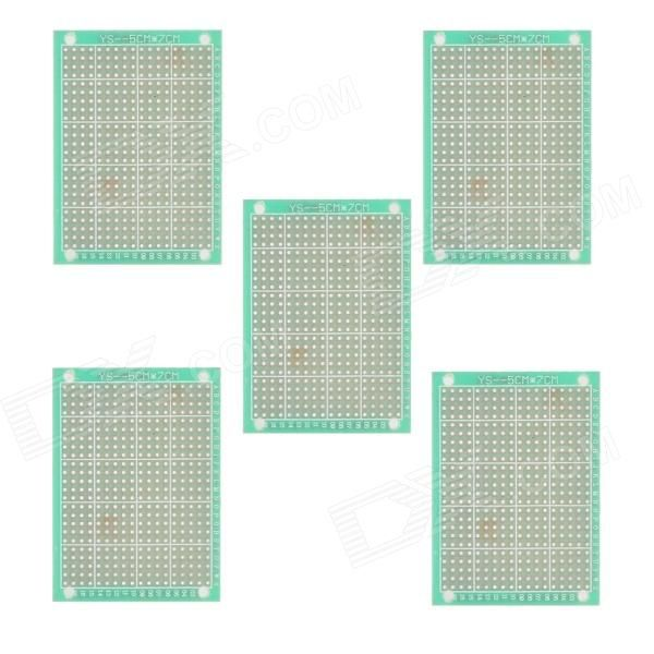 5cm x 7cm Universal PCB Punching Hole Test Boards / Pegboards - Green + Golden (5 PCS)