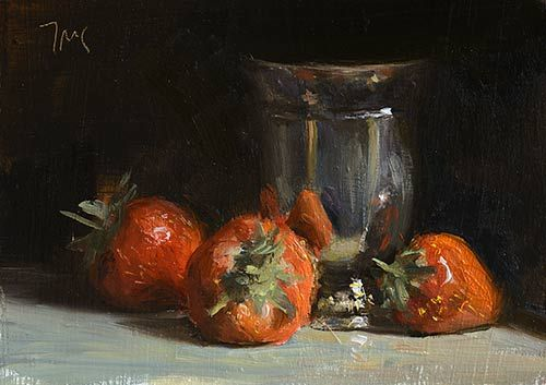 Strawberries and silver goblet painting by Julian Merrow-Smith. 3-25-16. Really great composition and the metal is lovely.