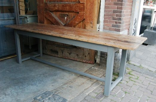 Eettafel lang oude industriele vintage brocante antiek retro